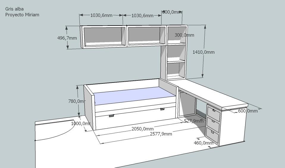 Dormitorio a medida infantil for Medidas cama nido con cajones