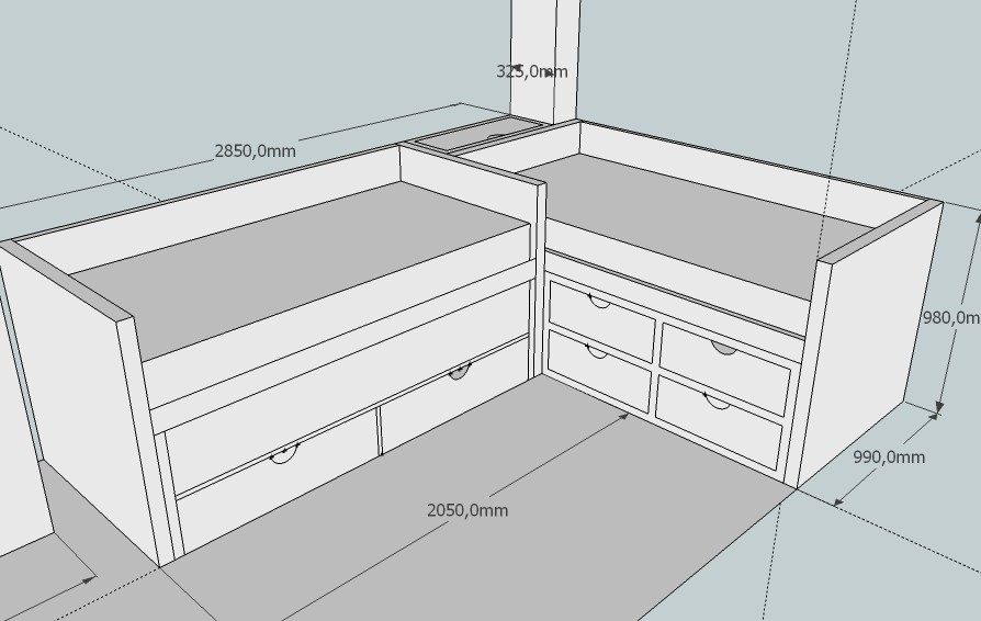 Dormitorio a medida infantil - Medidas cama doble ...