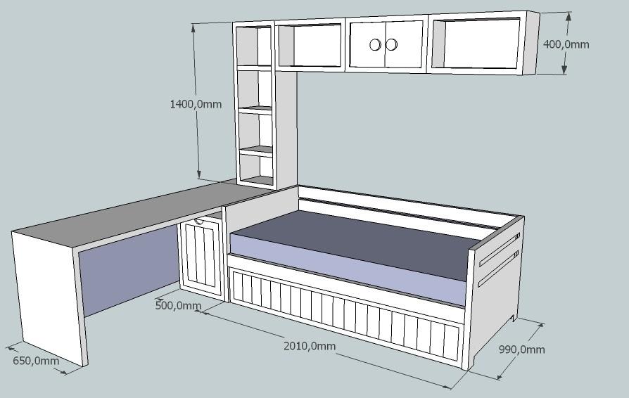 Proyecto 1 muebles infantiles - Estructura cama cajones ...