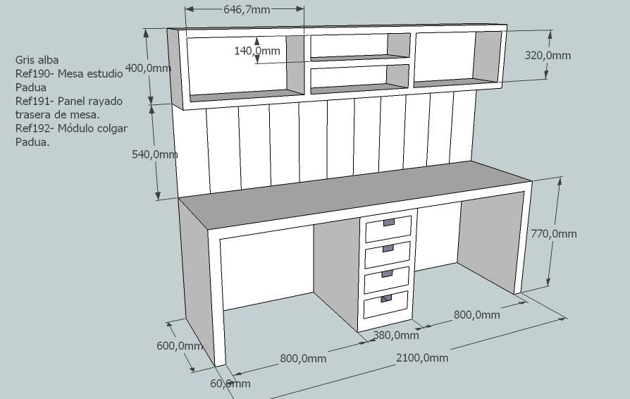 M dulo colgar padua mueble infantil for Dimensiones de un escritorio