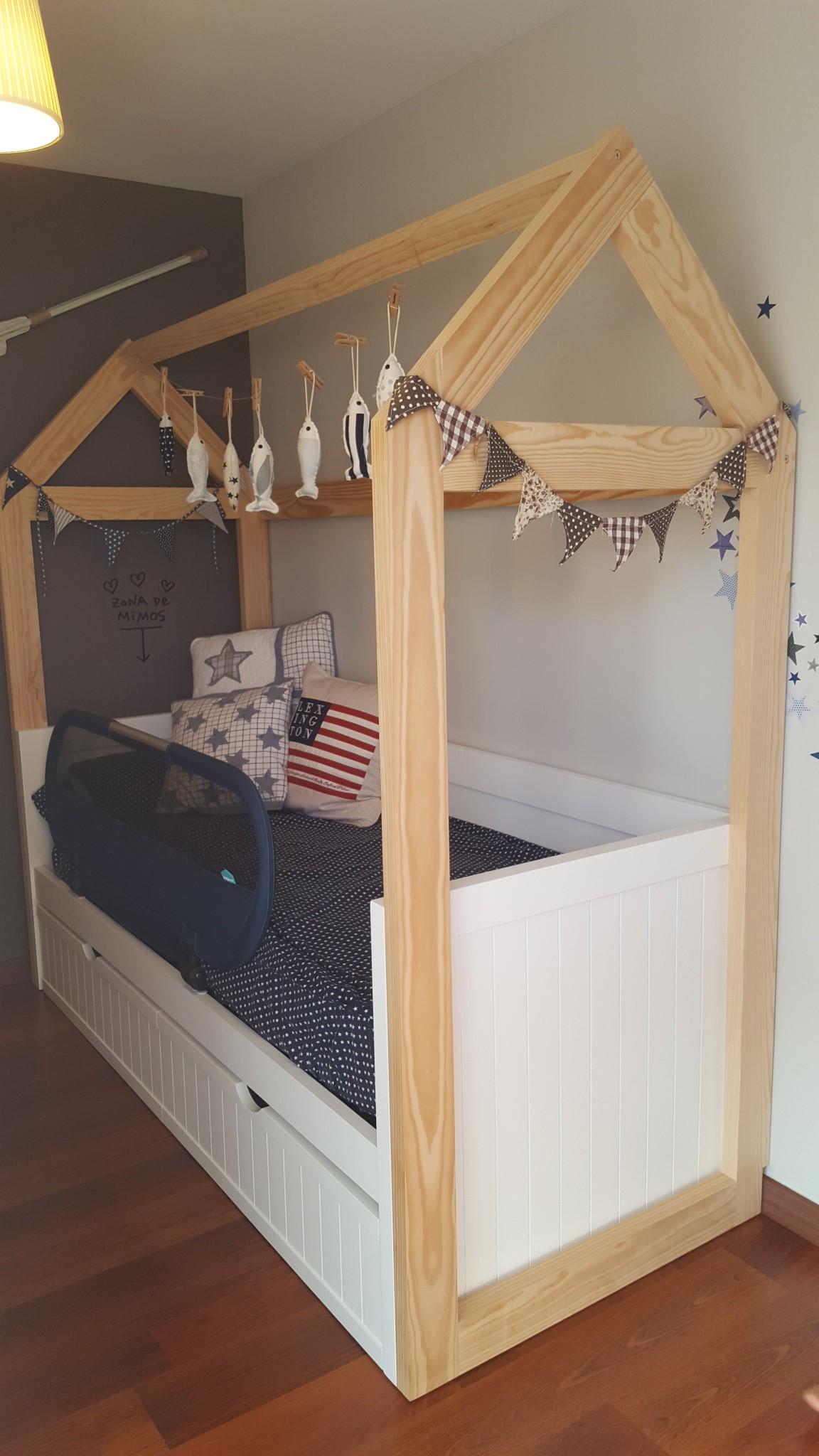 Casita para cama mueble infantil for Cama de casita