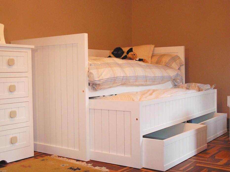 cama compacto viena lacada mate, gris alba