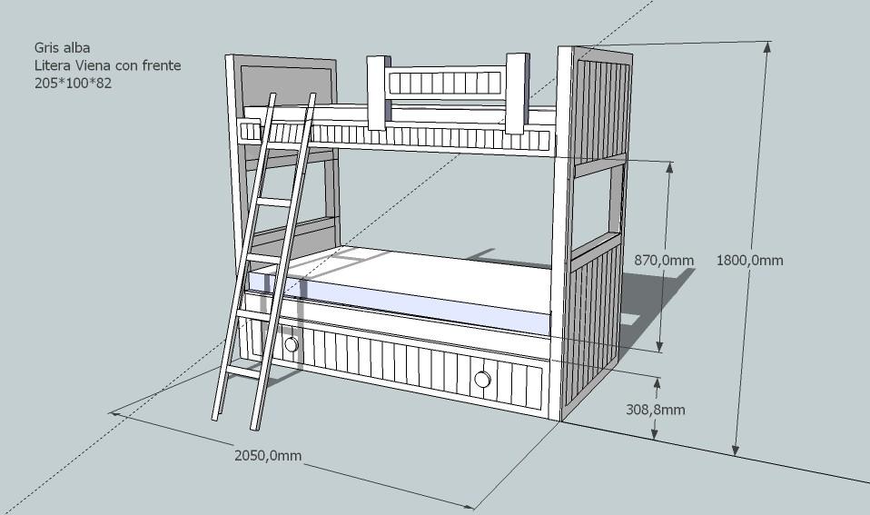 Litera modelo viena con nido lacada gris alba - Medidas de camas infantiles ...
