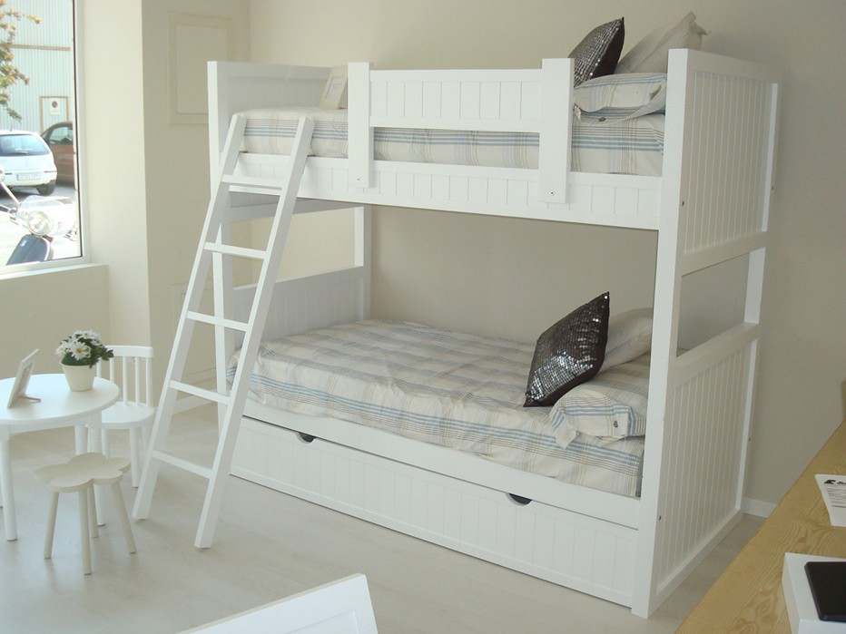 Litera modelo viena con nido lacada gris alba - Garabatos muebles ...